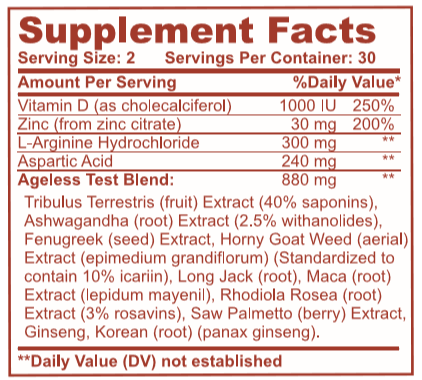Ageless Test Supplement Facts