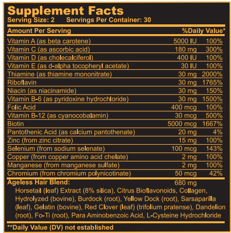 Ageless Hair Supplement Facts