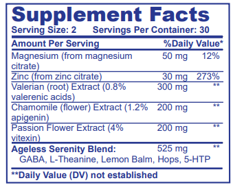 Ageless Serenity Supplement Facts