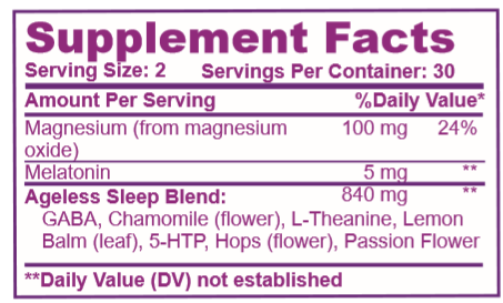 Ageless Sleep Supplement Facts