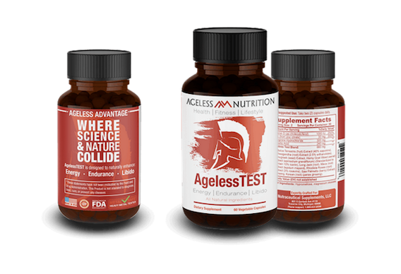 Ageless Test Natural Supplement Bottles
