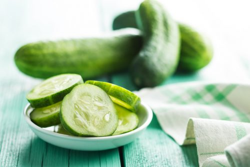Sliced green cucumbers
