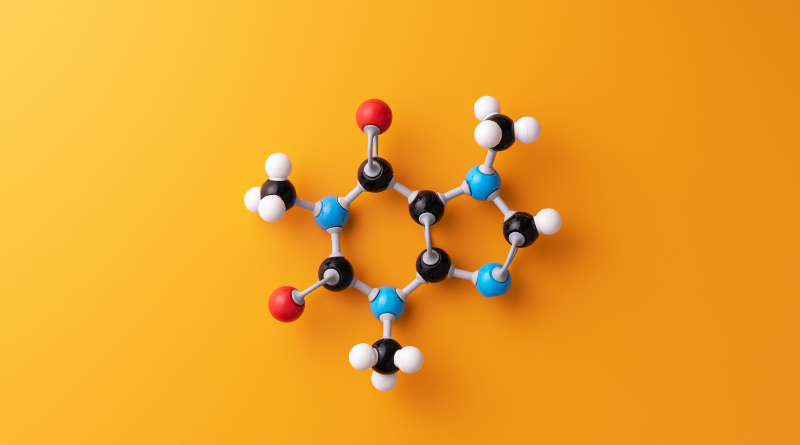 Caffeine chemical formula over yellow background