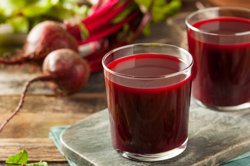 raw organic beet juice in glass