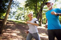 mature couple jogging outside